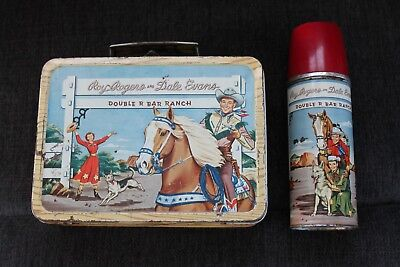 Roy Rogers Dale Evans Double R Bar Ranch 50's Metal Lunchbox Lunch Box & Thermos
