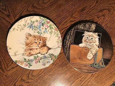 Pair Royal Worcester Kitten Classic Plates Vintage China