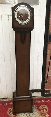 Oak Cased Granddaughter/Grandmother Longcase Clock, Art Deco Detail, Westminster