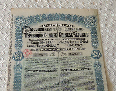 Gouvernement De La Republique Chinoise Emprunt 5% Or 1913 Lung Tsing U Hai