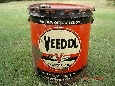 VINTAGE VEEDOL Tractor Oil Can 5 Gallon,Gas Station,Pump,Sign,Man Cave