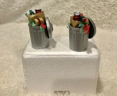 Dept 56 Snow Village CHRISTMAS TRASH CANS w/ box Combine Shipping!