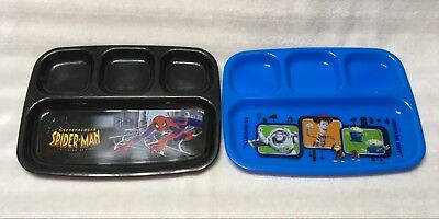 2 Children's Plastic Dinner / Lunch Trays - 4 Section / Toy Story / Spider Man