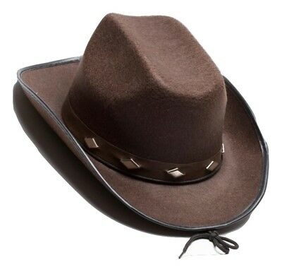 Cowboy Cowgirl Studded Brown Hat Western Womens Adult Mens Costume Accessory  NEW 064ef4f23cff