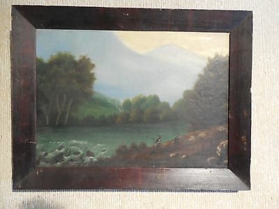 Antique 19th Century Oil on Canvas Landscape with Figures Signed Wells / Walls ?
