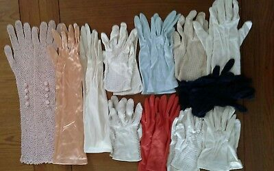 Ladies Vintage Gloves Selection - 12 pairs cotton, crochet and satin