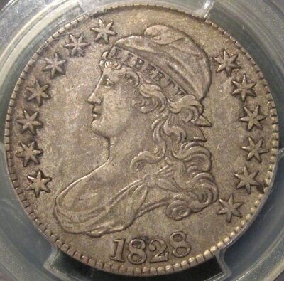 """1828 O-109 R3 CAPPED BUST HALF DOLLAR, """"SQUARE BASE 2 & LARGE 8's"""" – PCGS XF-45!"""
