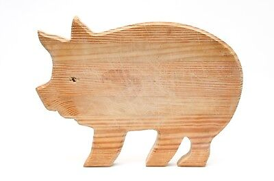 Vintage Wooden Cutting Chopping Board Pig Country Small
