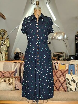 Vintage 20s 1930s Dress Navy Blue Art Deco Pattern Bakelite Buttons and Pockets