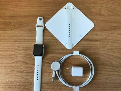 Apple Watch Series 0 (1st Gen) 38mm Stainless Steel with White Apple Sport Band