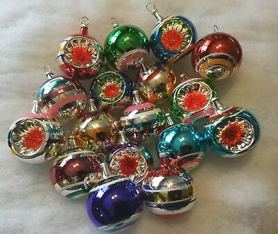 "17 Vintage? Glass Feather Tree Ornaments Indent / Striped 2"" Poland?"