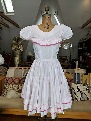 Vintage 1950s 60s Pink Puff Sleeve Dress Full Circle Skirt Ruffled Bodice