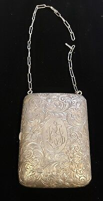 Antique Sterling Silver Compact Coin Card Case Purse Wristlet