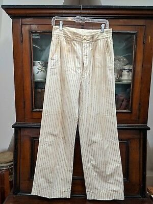 Vintage 1920s Mens Pants High Waisted Linen Pin Striped Cuffed Hem Button Up
