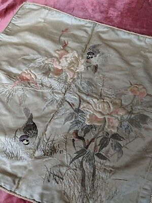 Vintage 1920s Silk Chinese Tapestry Piano Shawl Look Little Birdies and Flowers