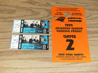 Carolina Panthers/ny Giants 1995 Game 2 Tickets Set Of 2 With Parking Permit