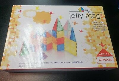 Magnetic Tiles Jolly Mags Set - 3D Building Blocks w/Magnets; SAFETY CERTIFIED