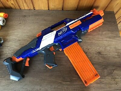 Nerf Rapidstrike CS-18 Gun N-strike Elite Blue Orange Machine Gun Fast 12 Max Cl
