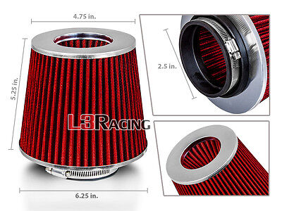 "RED 2.5 Inches 2.5"" 63mm Inlet Cold Air Intake Cone Dry Filter For Infinifi"