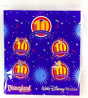 Disney Pins 10 YEARS OF PIN TRADING Mickey Stitch 2009: Set of 4 Pins New Sealed