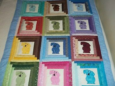 New Handmade Baby Girl Boy Quilt Crib Blanket Puppies  Appliqued  Dog Patchwork