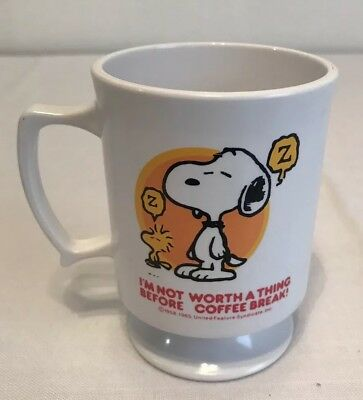 Vintage Peanuts Snoopy Woodstock Coffee Cup Mug Coffee Break White Plastic