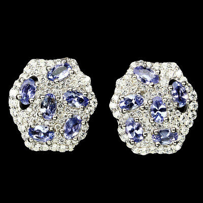 Exquisite Oval 5x3mm Top Blue Violet Tanzanite Cz 925 Sterling Silver Earrings