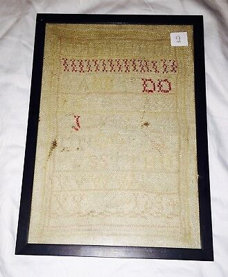 Vintage Antique 1800s 1900's Stitch Needlework Alphabet Sampler Framed