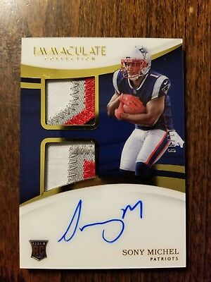 2018 Immaculate Football Sony Michel RC Auto /99 RPA 4 Color Patch