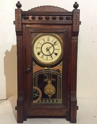 Antique New Haven Wooden Mantle Clock ESJ - Feb.11.1879 With Chime.Working.