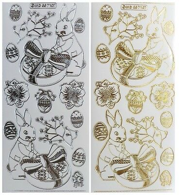 EMBOSSED EASTER RABBIT Peel Off Stickers Bunny Eggs Card Making Gold or Silver