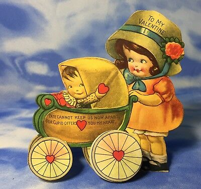 HTF Antique 3D Foldout Valentine's Day Card Fate Baby Carriage Hearts EVC