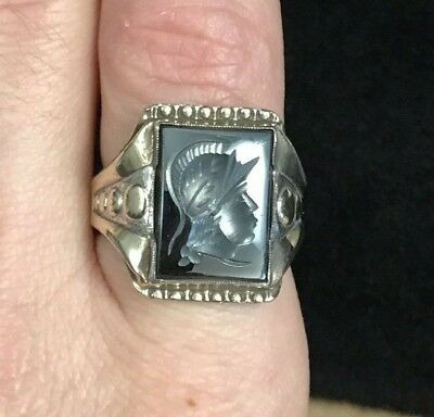 VINTAGE STERLING ROMAN SOLDIER SIGNET CAMEO RING WITH 10K GOLD TOP Size 8