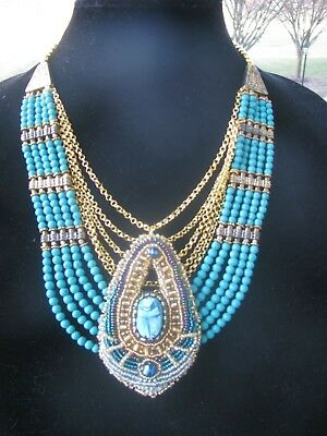 Egyptian Revival Natural Stone Necklace, Egyptian Faience Scarab, NWT