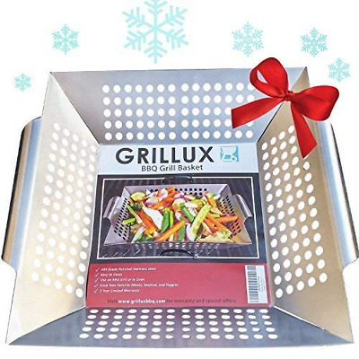 #1 BEST Vegetable Grill Basket - BBQ Accessories for Grilling Veggies, Fish, or