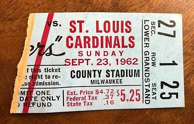 Sept 23 1962 NFL Ticket Stub St Louis Cardinals / Green Bay Packers at Milwaukee