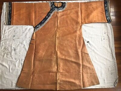 Antique Chinese Informal Summer Robe Orange Silk Gauze Blooming Orchids Qing