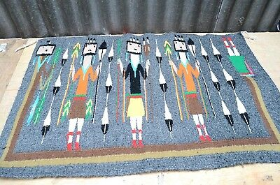 "VTG Navajo native american indian YEI rug 31x20"" Corn people blanket pictorial"