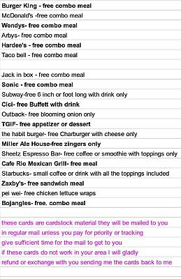 15 free Combo Meal Vouchers!! Food Expiration!!!!PICK FROM LIST IN PICTURES
