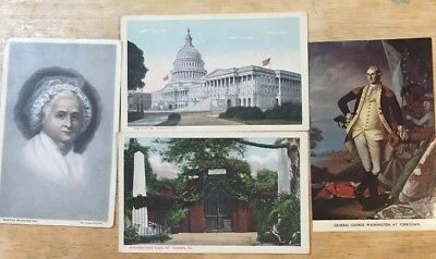 Lot Of 4 vintage postcards -- George and Martha Washington