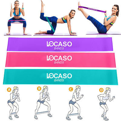3x Resistance Exercise Loop Bands Ankle Leg Home Gym Fitness Yoga Pilates Glute