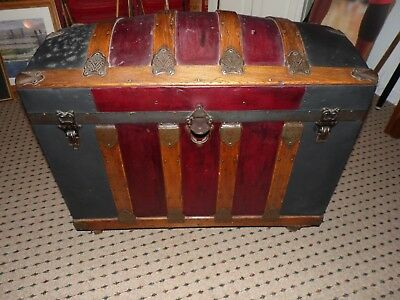 ANTIQUE 1800's CAMELBACK HUMPBACK DOME TOP TRUNK WITH ALL INSIDE INSERTS & TRAYS