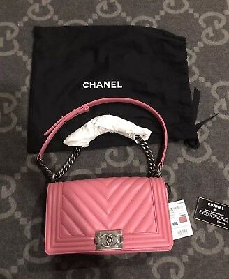 Brand New With Tags 100% Authentic Chanel Boy Bag Medium Dark Pink Flap Bag