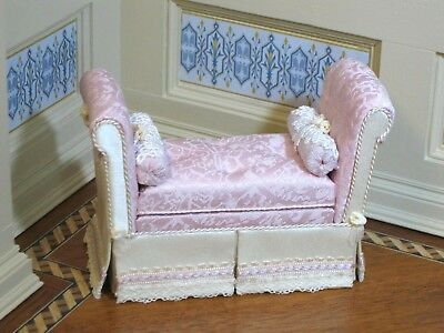 Nancy Summers Pink Upholstered Bench - Artisan Dollhouse Miniature (NS-404)