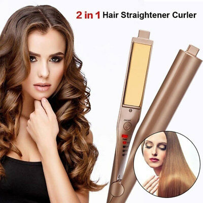 2 IN 1 MESTAR IRON PRO -Hair Straightener Negative Ions & Curling Iron -UK / EU