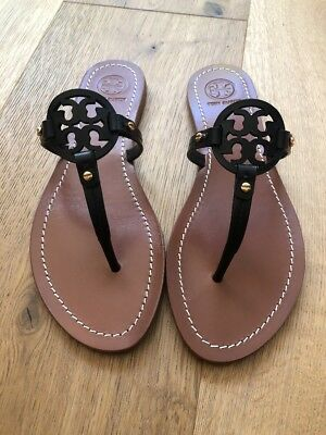 48364a28b407 NWB TORY BURCH Mini Miller Veg Leather Thong Sandals Royal Tan Size ...