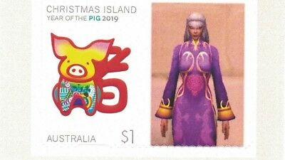 """Christmas Island Australia 2019 Personalised """"Year of Pig"""" Mint Stamp with Tab"""