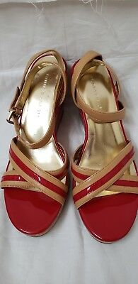 0698690a3301 EUC Tommy Hilfiger Joliet Red Tan Leather Cork Women s 8 M Wedge Sandals  Shoes