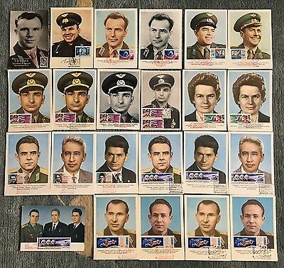 1961-1965 USSR Russia Space 23 portraitcard all members Vostok-Voskhod Gagarin