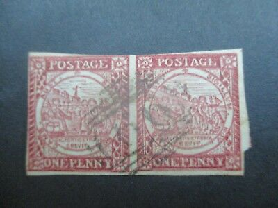 NSW Stamps: 1d Sydney Views 1850 Pair Used    (F2)